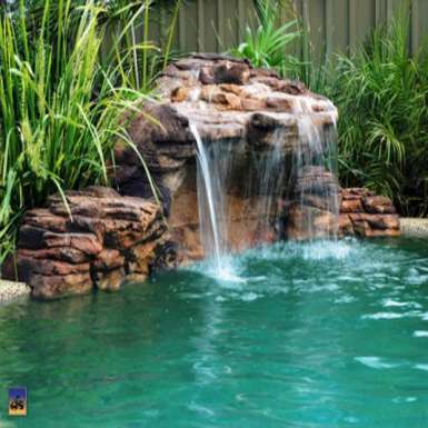 Waterfall in urethane foam imitation rock